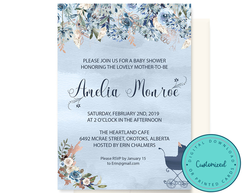 Blue & Copper Floral Baby Shower Invitation