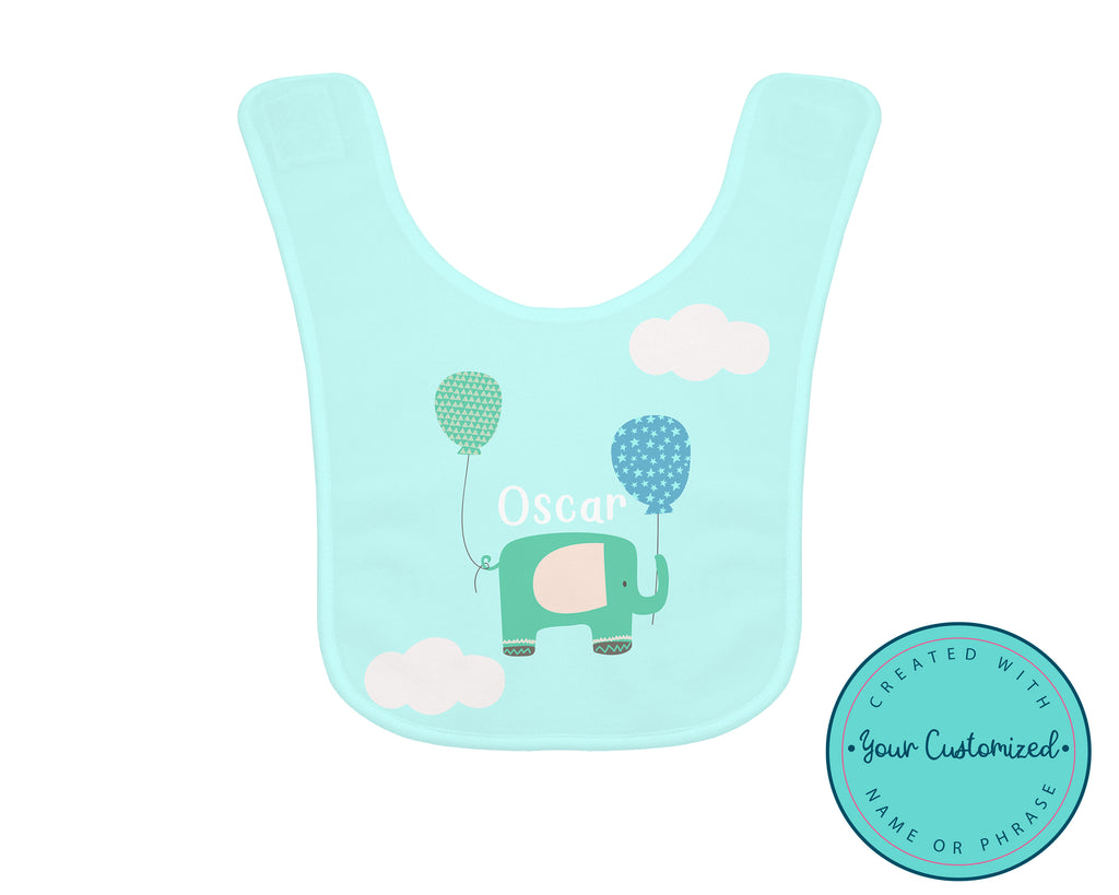 Personalized Flying Elephant Blue Baby Bib