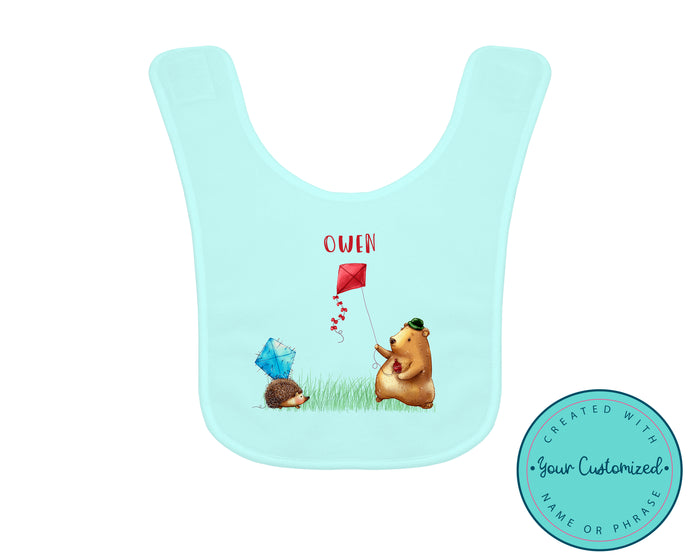 Personalized Blue Woodland Fly a Kite Bib