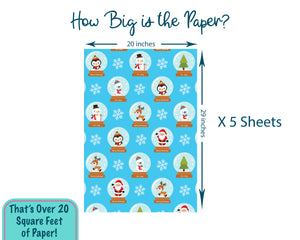 Personalized Blue Christmas Snow Globe Wrapping Paper
