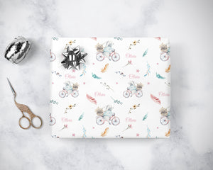 Boho Bunny Bicycle Wrapping Paper