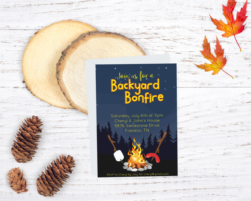 Backyard Bonfire Invitation