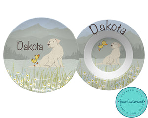 Labrador Dog and Duckling Plate & Bowl Set