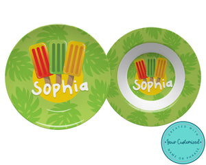 Tropical Popsicle Plate & Bowl Set