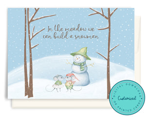 Watercolour Mice & Snowman Christmas Cards