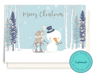 Mice Building a Snowman Christmas Cards