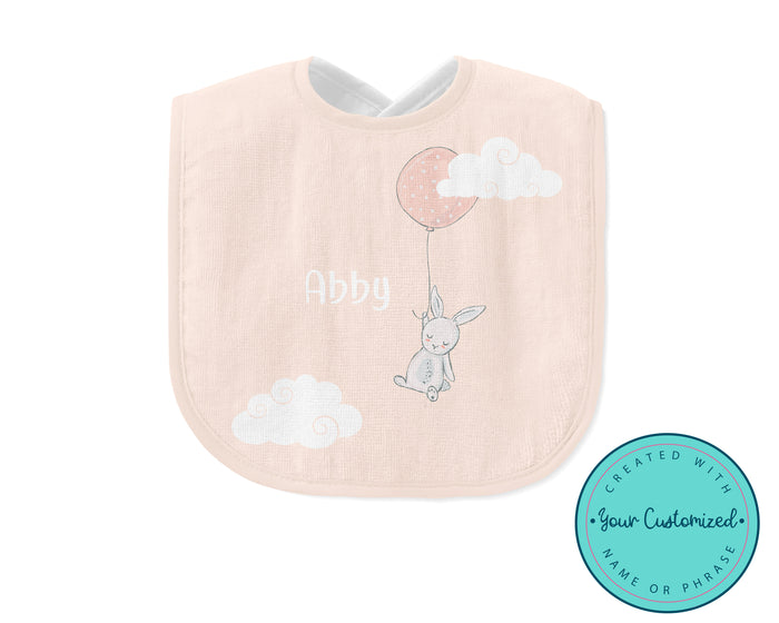 Personalized Pink Bunny Balloon Baby Bib