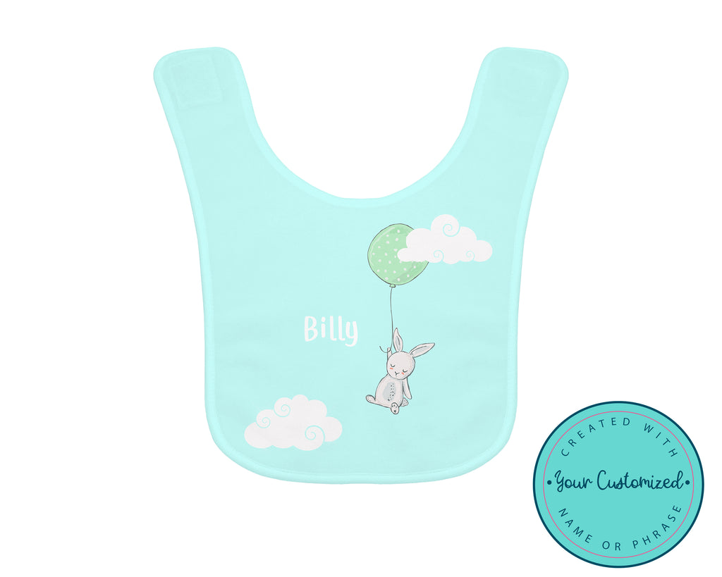 Personalized Blue Bunny Balloon Baby Bib