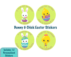Personalized Easter Bunny & Baby Chick Easter Stickers