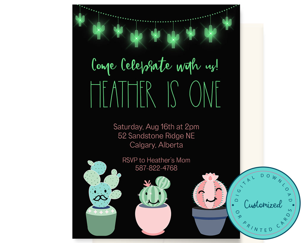 Cute Cactus Birthday Party Invitation