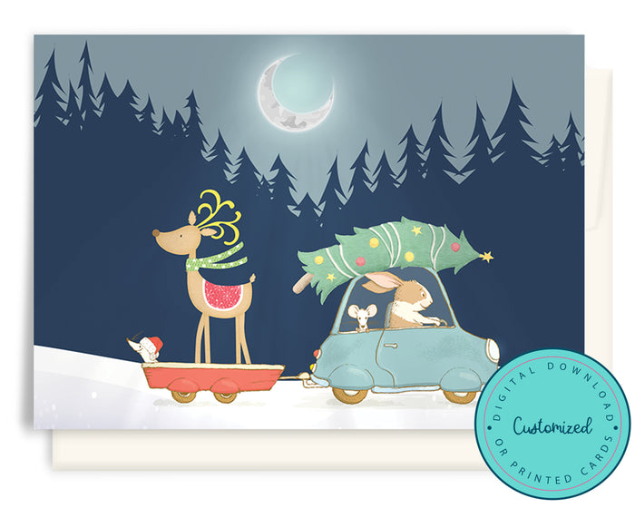 Mice & Reindeer Heading Home for Christmas CHRISTMAS CARDS