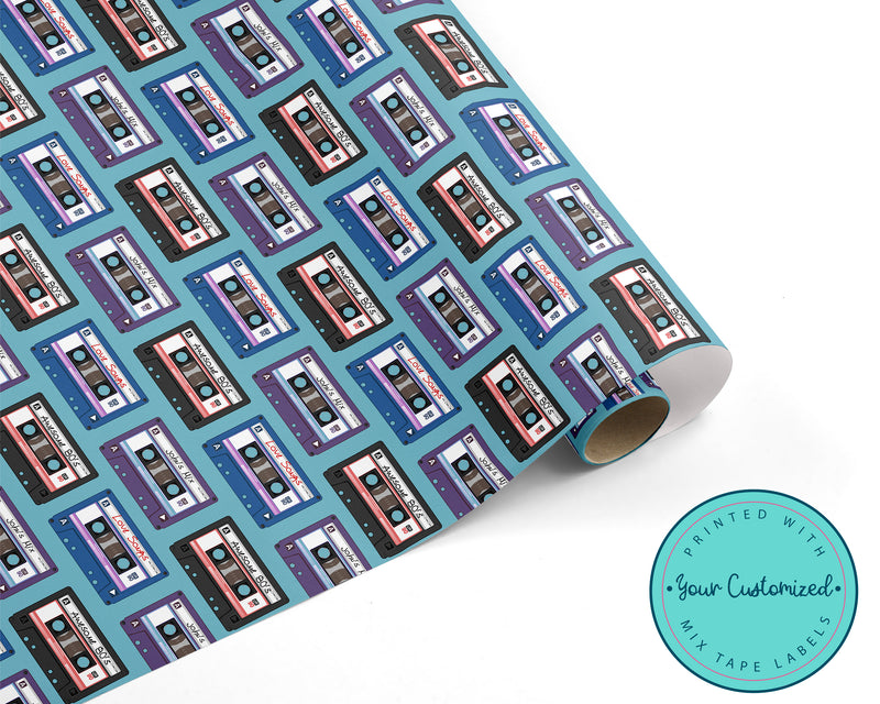 Personalized Retro Cassette Tape Wrapping Paper
