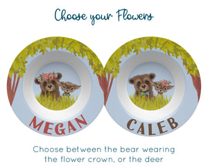 Personalized Floral Bear and Deer Bowl
