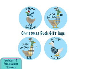 Personalized Ducks in Plaid Christmas Gift Tag Stickers