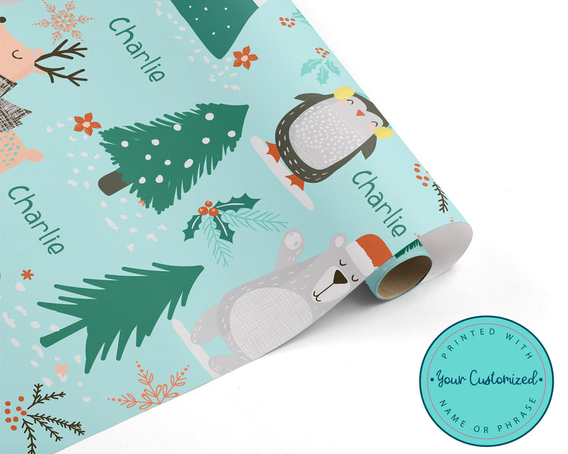 Christmas Winter Animals Personalized WRAPPING PAPER