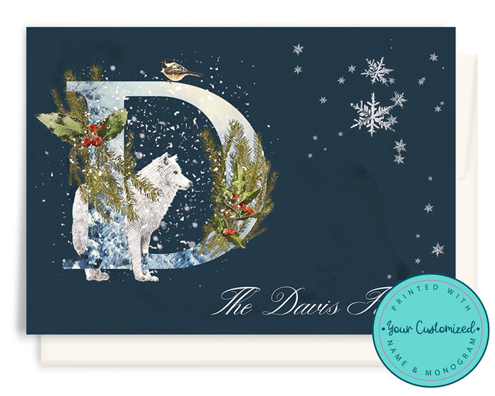 Woodland Monogram and Family Name Christmas Cards