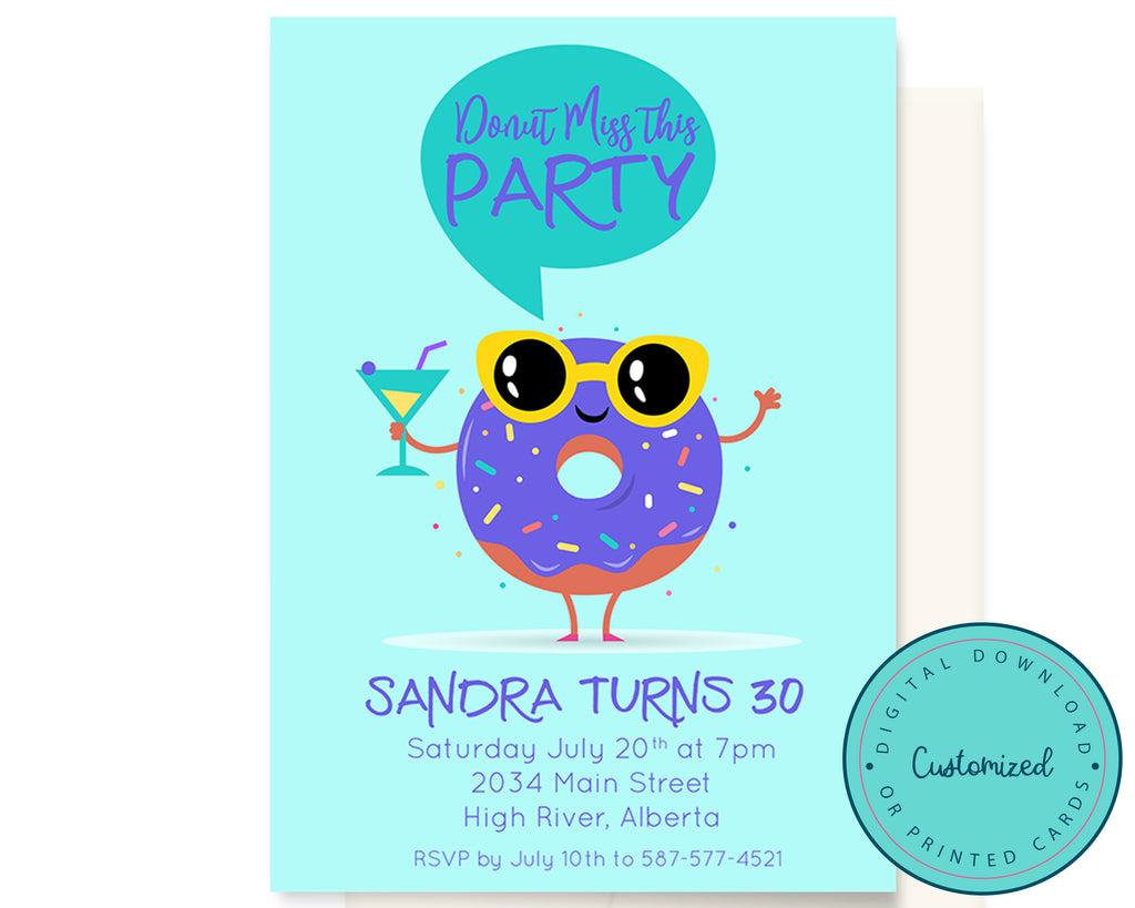 Cool Donut Party Invitation