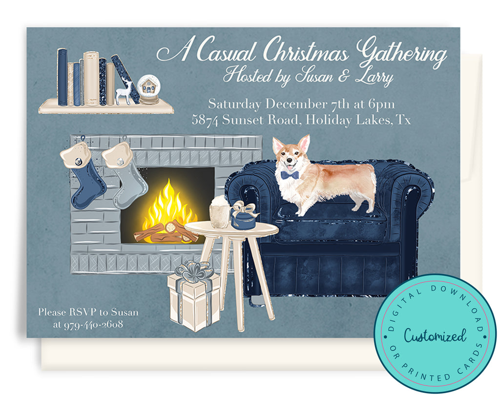 Corgi Christmas Party Invitation