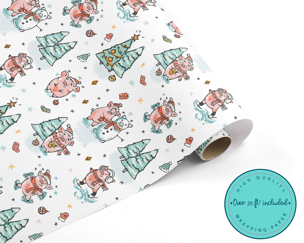 Cute Christmas Pig WRAPPING PAPER