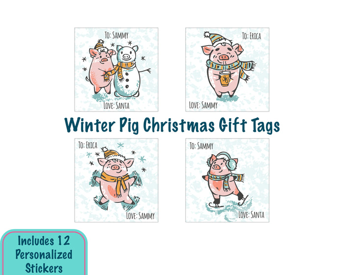 Personalized Cute Winter Pig Christmas Gift Tag Stickers