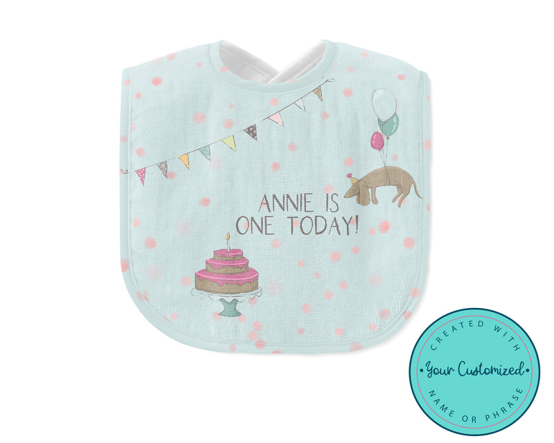 Personalized Girl First Birthday Baby Bib with Weiner Dog