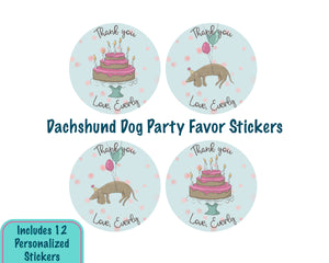 Dachshund Wiener Dog Party Favor Stickers