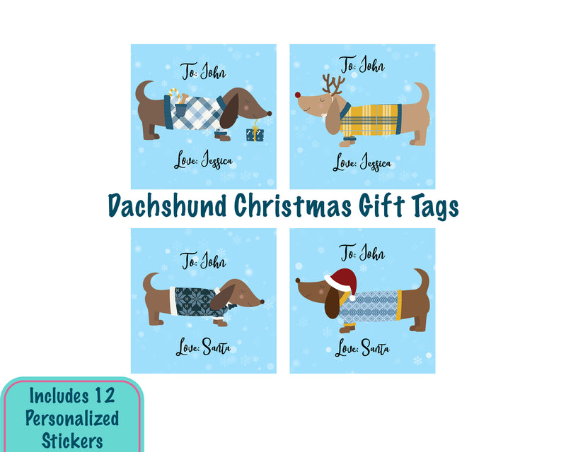 Personalized Dachshund Dog Christmas Gift Tag Stickers