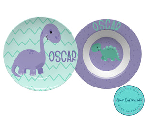 Purple Dinosaur Plate & Bowl Set