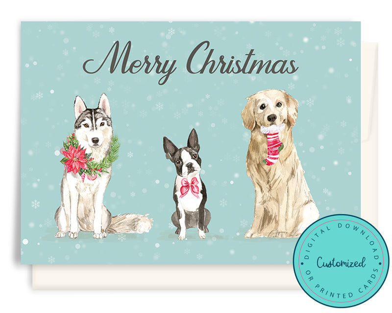 Watercolour Dogs Christmas Cards - Husky, Boston Terrier & Golden Retriever