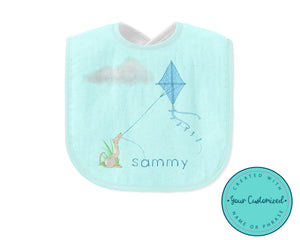 Personalized Blue Dog Flying a Kite Baby Bib