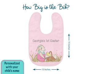 How big is the bib? Bib is 15 inches long by 13 inches wide. It can be personalized with your child's name.
