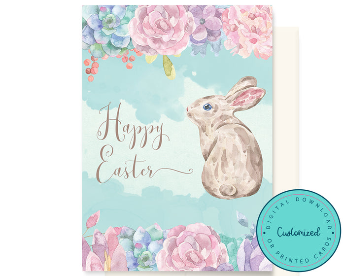 Watercolour Easter Bunny Card