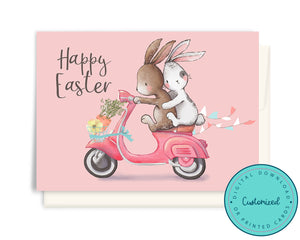 Pink Vespa Easter Bunny Delivery Card