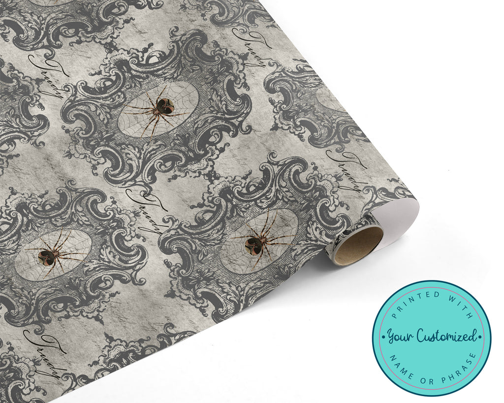 Creepy Spider Vintage Halloween Wrapping Paper