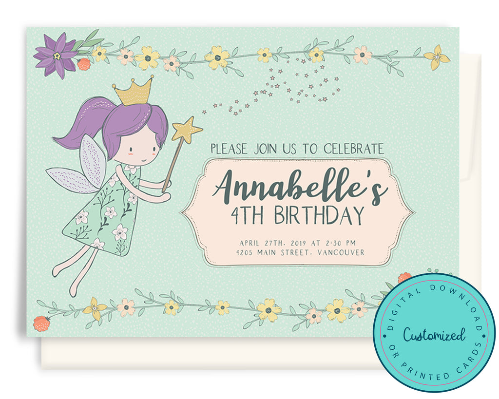 Magic Princess Fairy Party Invitation