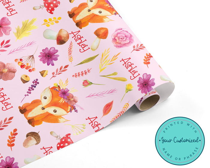Fall Floral Fox Wrapping Paper