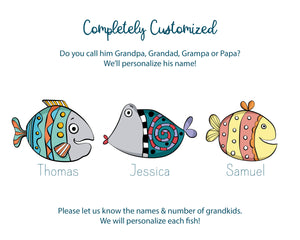 "Zoomed in view of 3 colourful illustrated fish with children's names below. Information on picture reads ""Completely Customized. Do you call him Grandpa, Grandad, Grampa or Papa? We'll personalize his name! Please let us know the names and number of grandkids. We will personalize each fish!"""