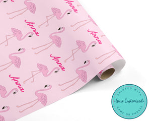 Personalized Pink Flamingo Wrapping Paper