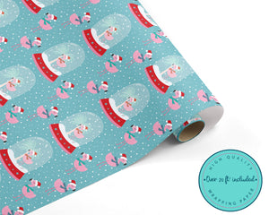 Tropical Pink Flamingo Christmas WRAPPING PAPER