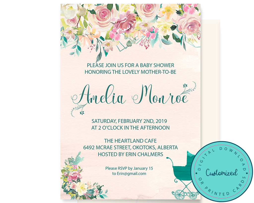 Pink & Turquoise Floral Baby Shower Invitation