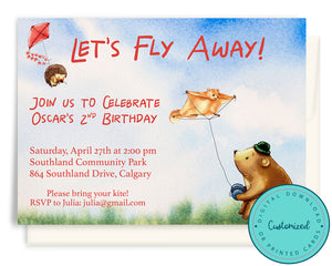 Woodland Fly a Kite Birthday Invitation
