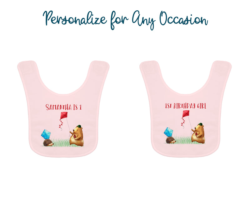 Personalized Pink Woodland Fly a Kite Bib