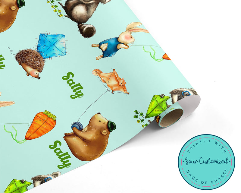 Personalized Woodland Fly a Kite Wrapping Paper