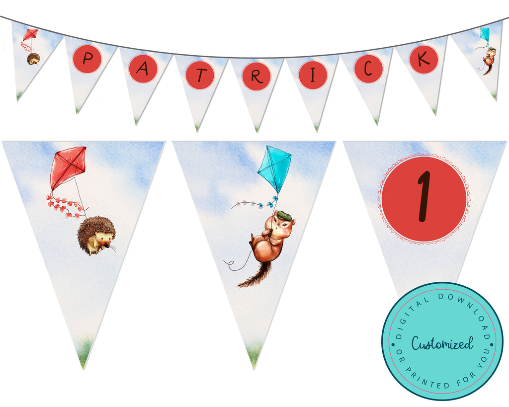 Personalized Woodland Fly A Kite Bunting Flag Banner