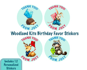 Personalized Woodland Fly a Kite Party Favor Stickers