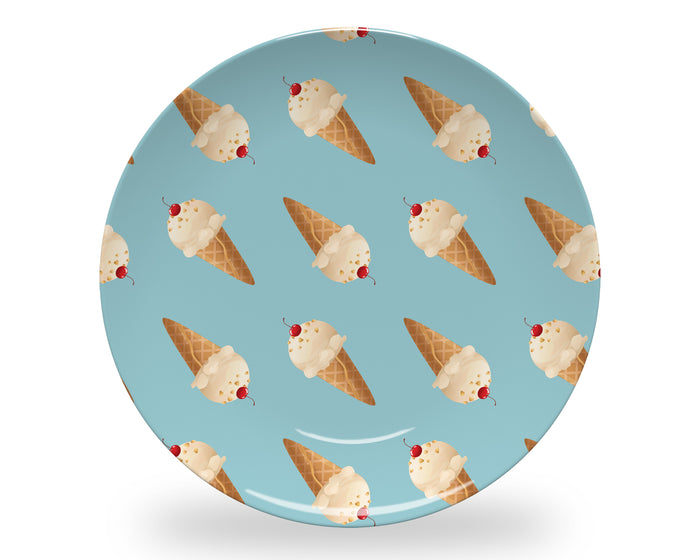 Blue Ice Cream Plate