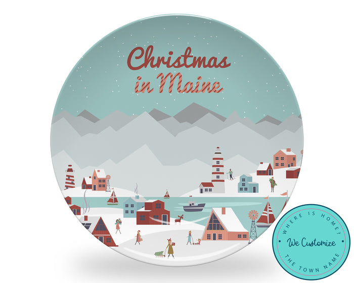 Coastal Christmas Personalized Plate