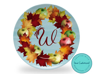 Monogram Apple Wreath Plate