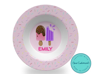Personalized Pink Popsicle Bowl