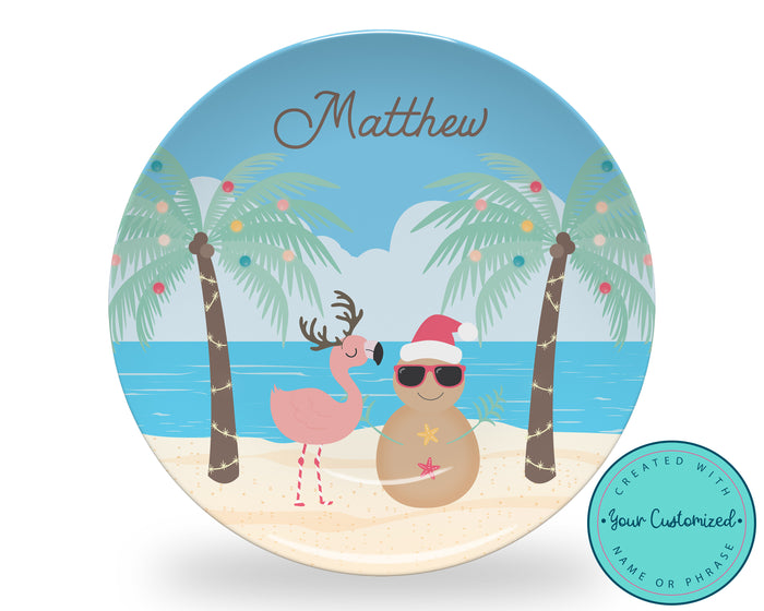 Personalized Tropical Beach Christmas Plate